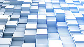 Randomly extruded blue cubes. Computer generated geometric abstract background. 3D render illustration