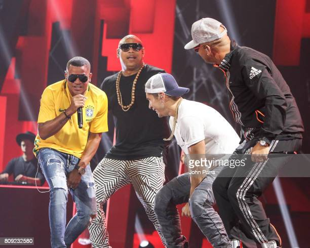 Randy Alexander of Gente de Zona Chyno Mirando and Wisin rehearses on stage during Univision's 'Premios Juventud' 2017 Celebrates The Hottest Musical...