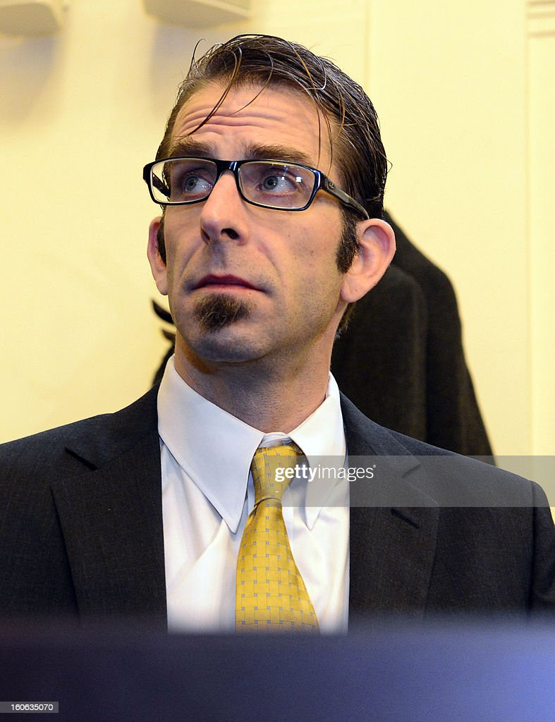Randy Blythe, frontman of US heavy metal group Lamb of God is seen on February 4, 2013 at the court in Prague, at the start of the hearing in trial of the involuntary manslaughter of a fan at Prague concert in 2010.