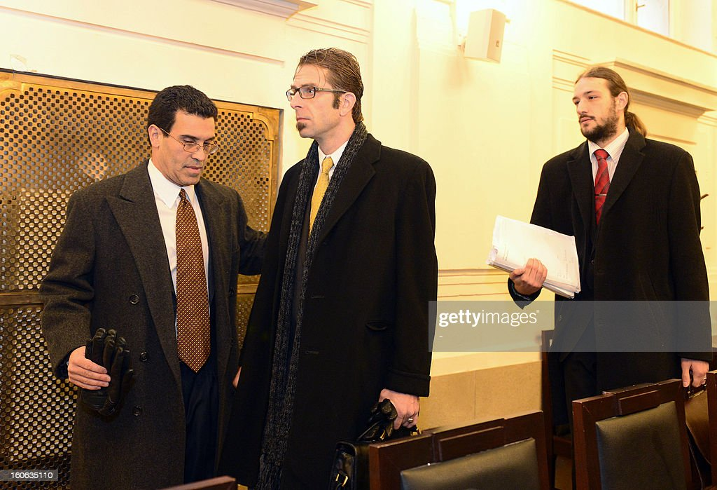 Randy Blythe (C), frontman of US heavy metal group Lamb of God is seen on February 4, 2013 at the court in Prague, at the start of the hearing in trial of the involuntary manslaughter of a fan at Prague concert in 2010.