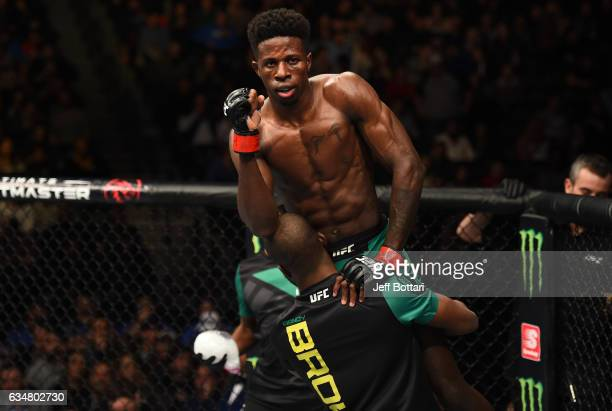 Randy Brown of Jamaica raises his hands after facing Belal Muhammad in their welterweight bout during the UFC 208 event inside Barclays Center on...