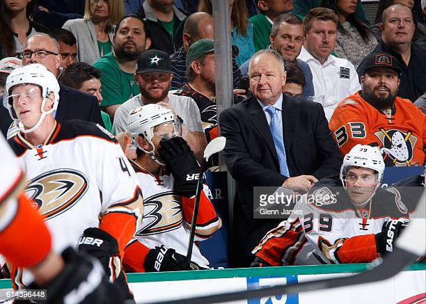 Randy Carlyle head coach of the Anaheim Ducks on the bench during a game against the Dallas Stars at the American Airlines Center on October 13 2016...
