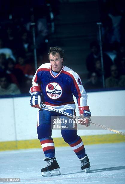 Randy Carlyle of the Winnipeg Jets skates on the ice during an NHL game circa 1987