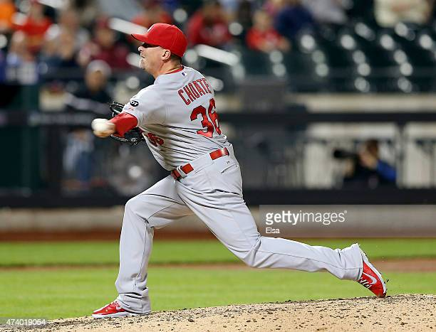 Randy Choate of the St Louis Cardinals delivers a pitch in the eighth inning against the New York Mets on May 19 2015 at Citi Field in the Flushing...