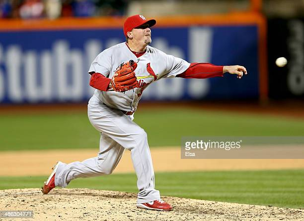 Randy Choate of the St Louis Cardinals delivers a pitch in the sixth inning against the New York Mets on April 23 2014 at Citi Field in the Flushing...