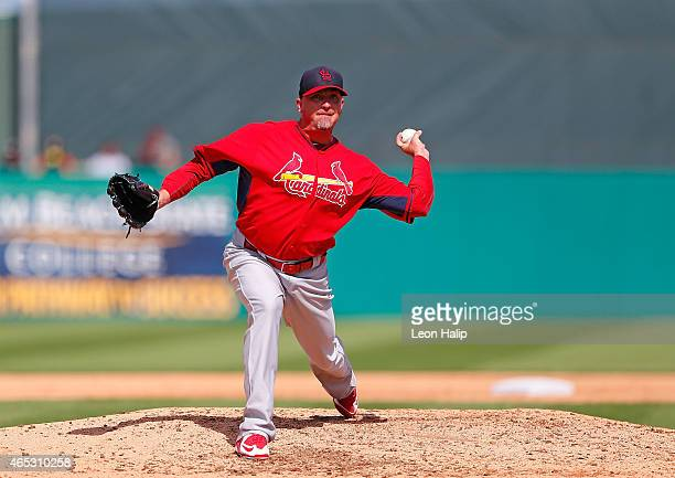 Randy Choate of the St Louis Cardinals during the sixth inning of the Spring Training game against the Miami Marlins Roger Dean Stadium on March 5...