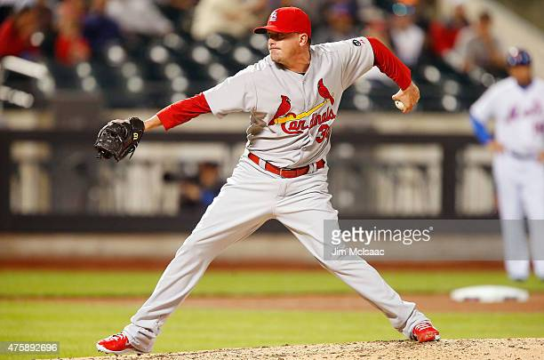 Randy Choate of the St Louis Cardinals in action against the New York Mets at Citi Field on May 19 2015 in the Flushing neighborhood of the Queens...
