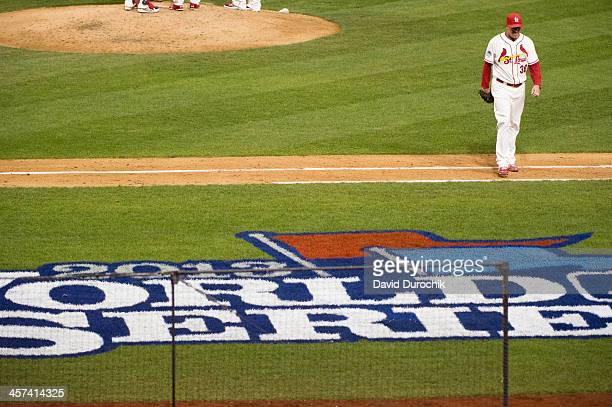 Randy Choate of the St Louis Cardinals is seen leaving the field after a pitching change in the top of the sixth inning during Game 3 of the 2013...