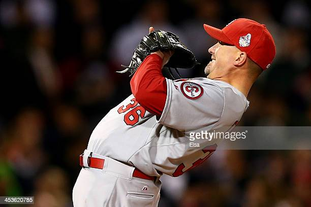 Randy Choate of the St Louis Cardinals looks on against the Boston Red Sox during Game One of the 2013 World Series at Fenway Park on October 23 2013...