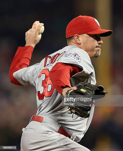Randy Choate of the St Louis Cardinals pitches against the Boston Red Sox during Game Six of the 2013 World Series at Fenway Park on October 30 2013...