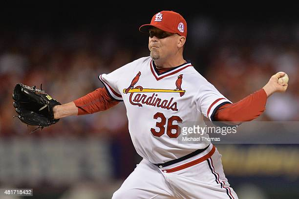 Randy Choate of the St Louis Cardinals pitches against the Kansas City Royals in the eighth inning at Busch Stadium on July 23 2015 in St Louis...
