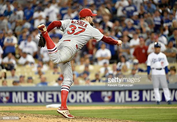 Randy Choate of the St Louis Cardinals pitches against the Los Angeles Dodgers in the eighth inning of Game One of the National League Division...