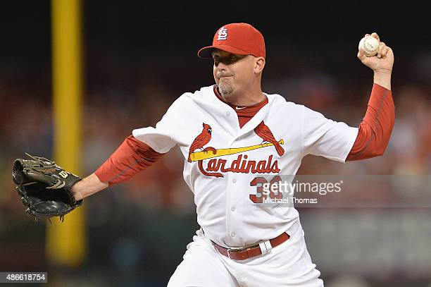 Randy Choate of the St Louis Cardinals pitches against the Pittsburgh Pirates in the eighth inning at Busch Stadium on September 4 2015 in St Louis...