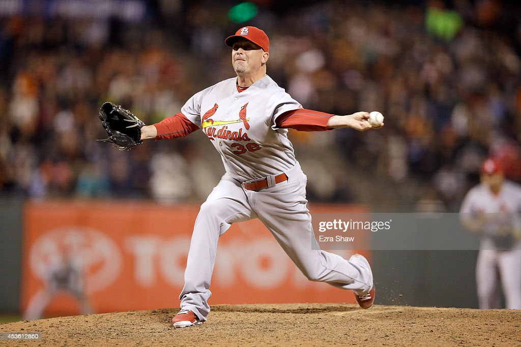 <a gi-track='captionPersonalityLinkClicked' href=/galleries/search?phrase=Randy+Choate&family=editorial&specificpeople=781432 ng-click='$event.stopPropagation()'>Randy Choate</a> #36 of the St. Louis Cardinals pitches against the San Francisco Giants at AT&T Park on July 1, 2014 in San Francisco, California.