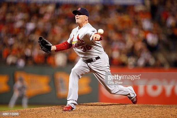 Randy Choate of the St Louis Cardinals pitches against the San Francisco Giants at ATT Park on August 28 2015 in San Francisco California