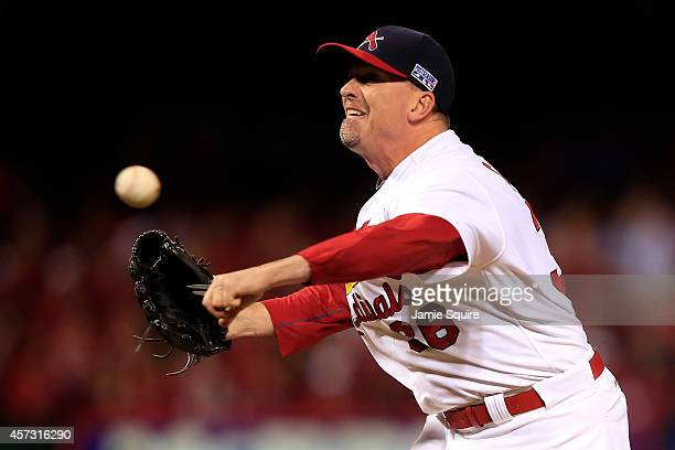 Randy Choate of the St Louis Cardinals pitches against the San Francisco Giants during Game Two of the National League Championship Series at Busch...