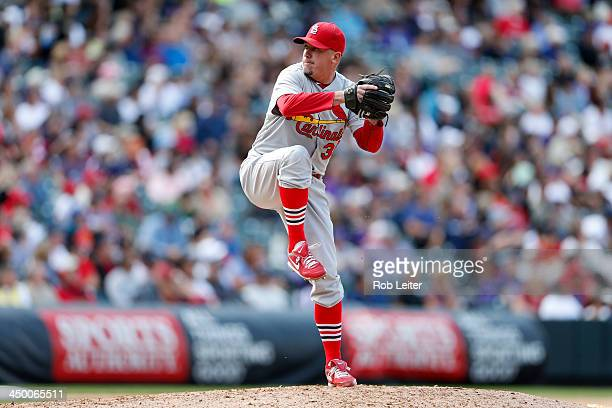 Randy Choate of the St Louis Cardinals pitches during the game against the Colorado Rockies at Coors Field on September 19 2013 in Denver Colorado...