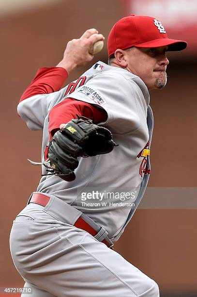 Randy Choate of the St Louis Cardinals pitches in the 10th inning against the San Francisco Giants during Game Three of the National League...