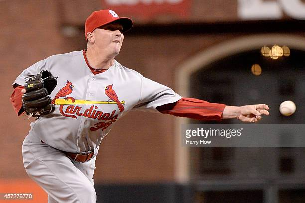 Randy Choate of the St Louis Cardinals pitches in the fourth inning against the San Francisco Giants during Game Four of the National League...