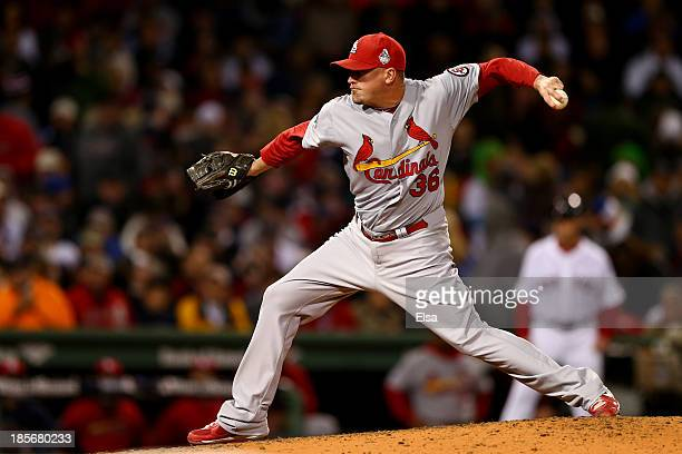 Randy Choate of the St Louis Cardinals pitches in the seventh inning against the Boston Red Sox during Game One of the 2013 World Series at Fenway...