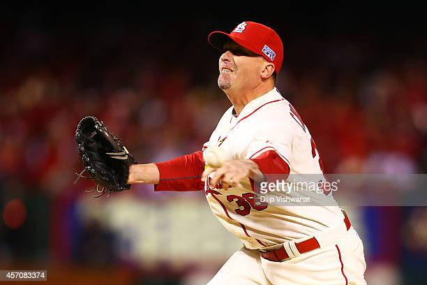 Randy Choate of the St Louis Cardinals pitches in the seventh inning against the San Francisco Giants during Game One of the National League...