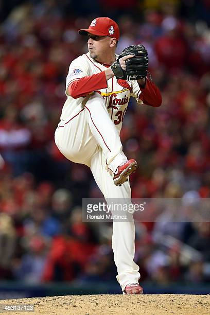 Randy Choate of the St Louis Cardinals pitches in the sixth inning against the Boston Red Sox during Game Three of the 2013 World Series at Busch...