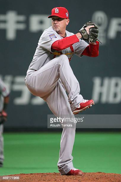 Randy Choate of the St Louis Cardinals pitches in the sixth inning during the game five of Samurai Japan and MLB All Stars at Sapporo Dome on...