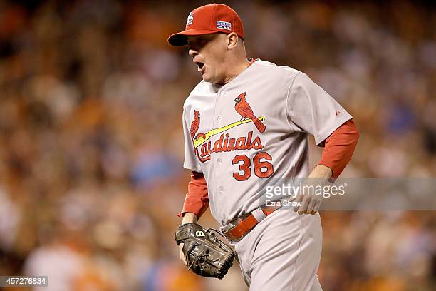 Randy Choate of the St Louis Cardinals reacts after getting the final out in the fourth inning against the San Francisco Giants during Game Four of...