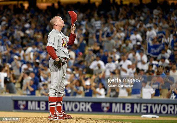 Randy Choate of the St Louis Cardinals reacts after giving up a two run homerun to Adrian Gonzalez of the Los Angeles Dodgers in the eighth inning of...