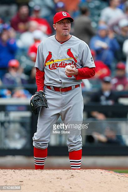 Randy Choate of the St Louis Cardinals reacts after Lucas Duda of the New York Mets connects on his second homerun of the game in the eighth inning...