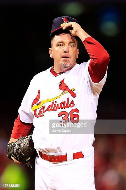 Randy Choate of the St Louis Cardinals reacts during Game Two of the National League Championship Series against the San Francisco Giants at Busch...