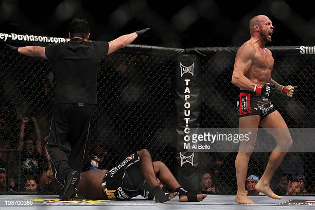 Randy Couture reacts after defeating James Toney in the first round of their UFC heavyweight bout at the TD Garden on August 28 2010 in Boston...