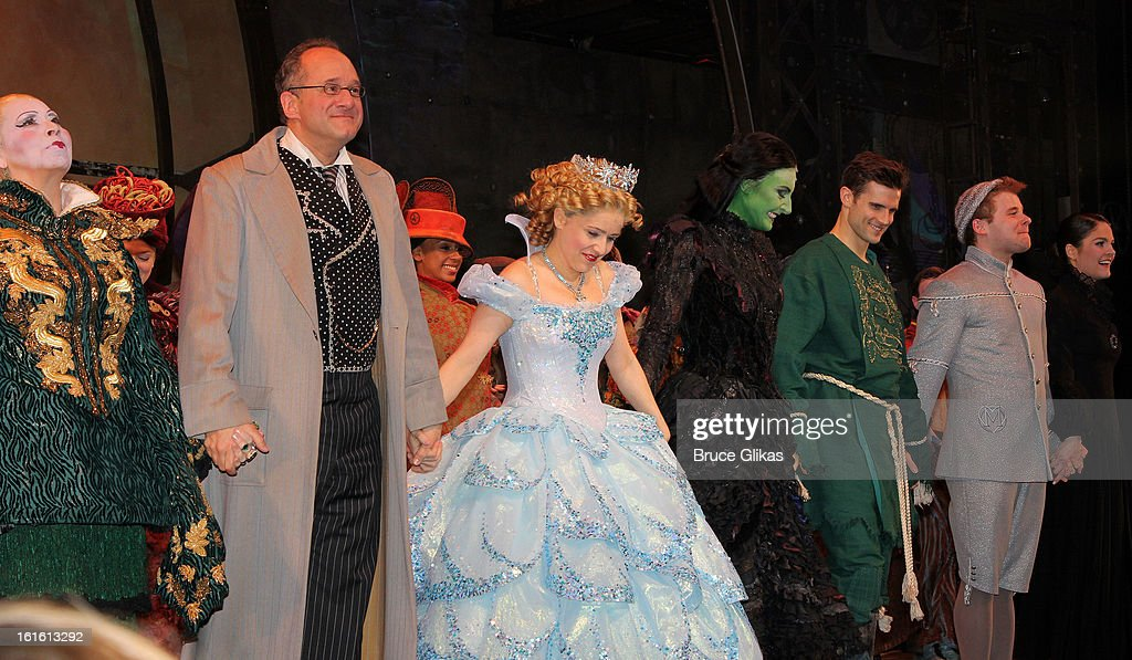 Randy Danson, Adam Grupper, Alli Mauzey, Willemijn Verkaik, Kyle Dean Massey and F. Michael Haynie takes the curtain call as Willemijn Verkaik makes her Broadway Debut In 'Wicked' On Broadway at The Gershwin Theatre on February 12, 2013 in New York City.