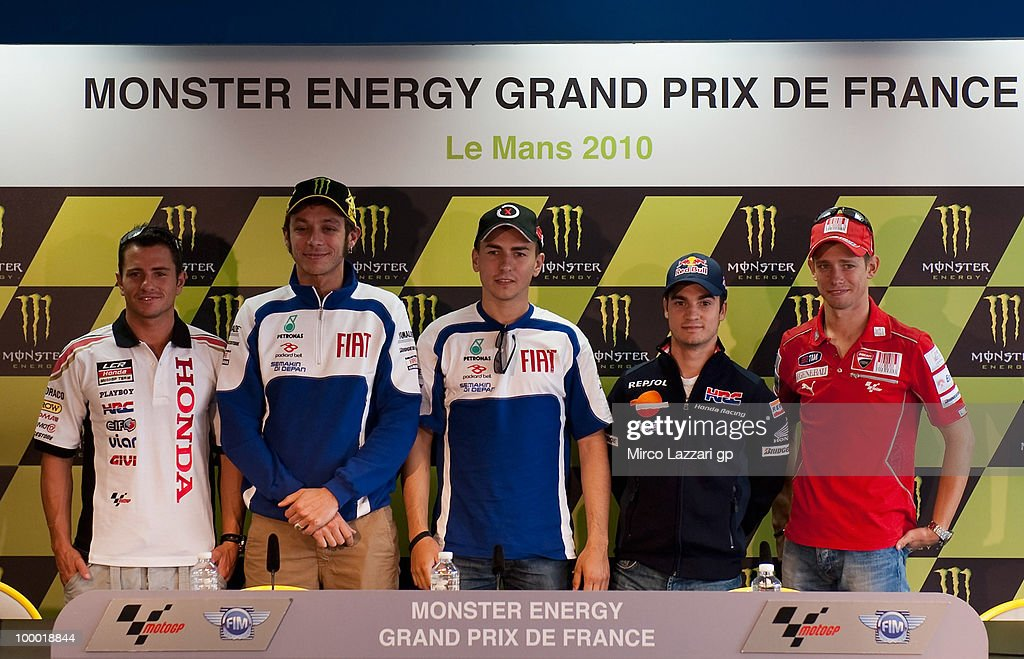 L-R Randy De Puniet of France and LCR Honda MotoGP and Valentino Rossi of Italy and Fiat Yamaha Team and Jorge Lorenzo of Spain and Fiat Yamaha Team and Dani Pedrosa of Spain and Repsol Honda Team and Casey Stoner of Australia and Ducati Marlboro Team pose during the press conference pre event of Grand Prix of France in Le Mans Circuit on May 20, 2010 in Le Mans, France.