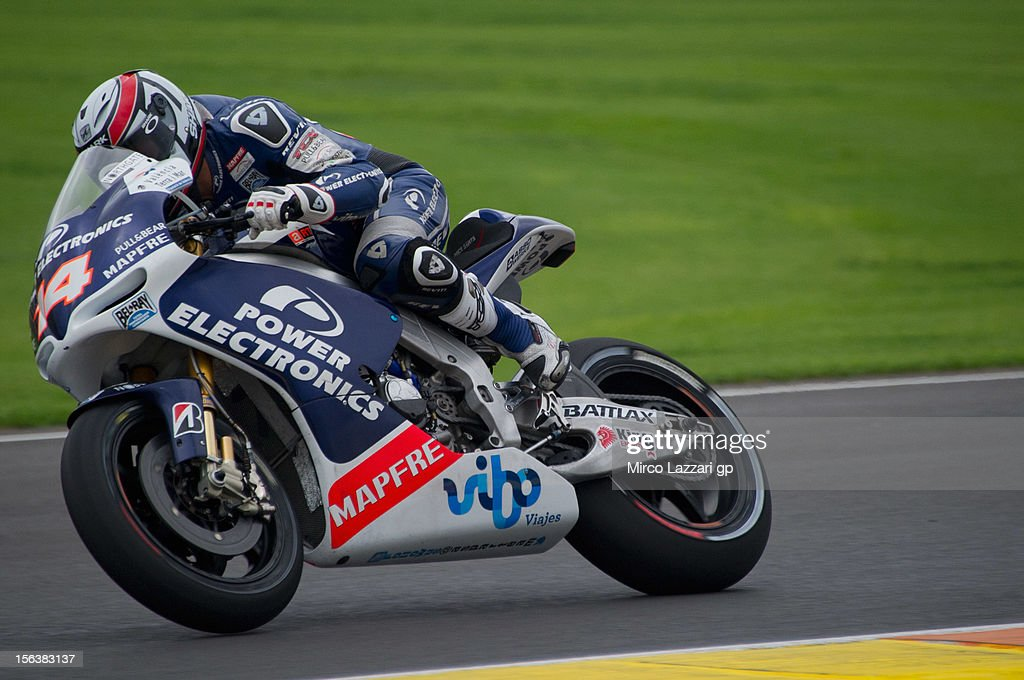 Randy De Puniet of France and Power Electronics Aspar during the second day of pre season MotoGP testing at Ricardo Tormo Circuit on November 14, 2012 in Valencia, Spain.