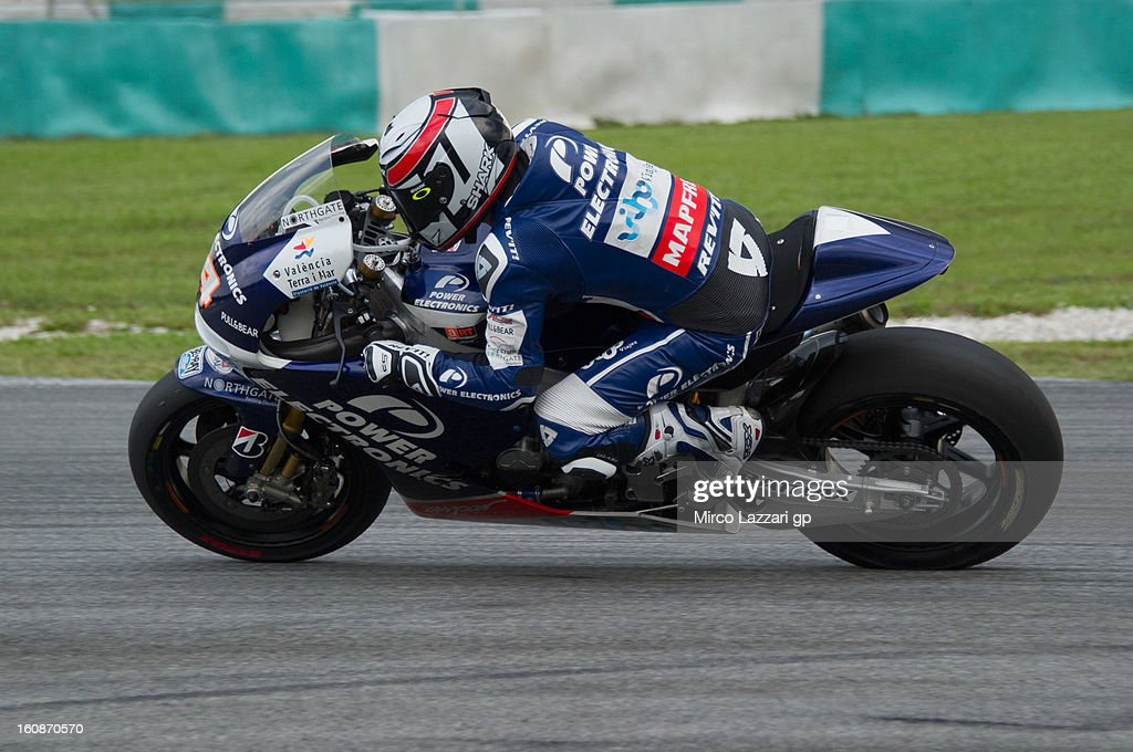 Randy De Puniet of France and Power Electronics Aspar heads down a straight during the MotoGP Tests in Sepang - Day Five at Sepang Circuit on February 7, 2013 in Kuala Lumpur, Malaysia.