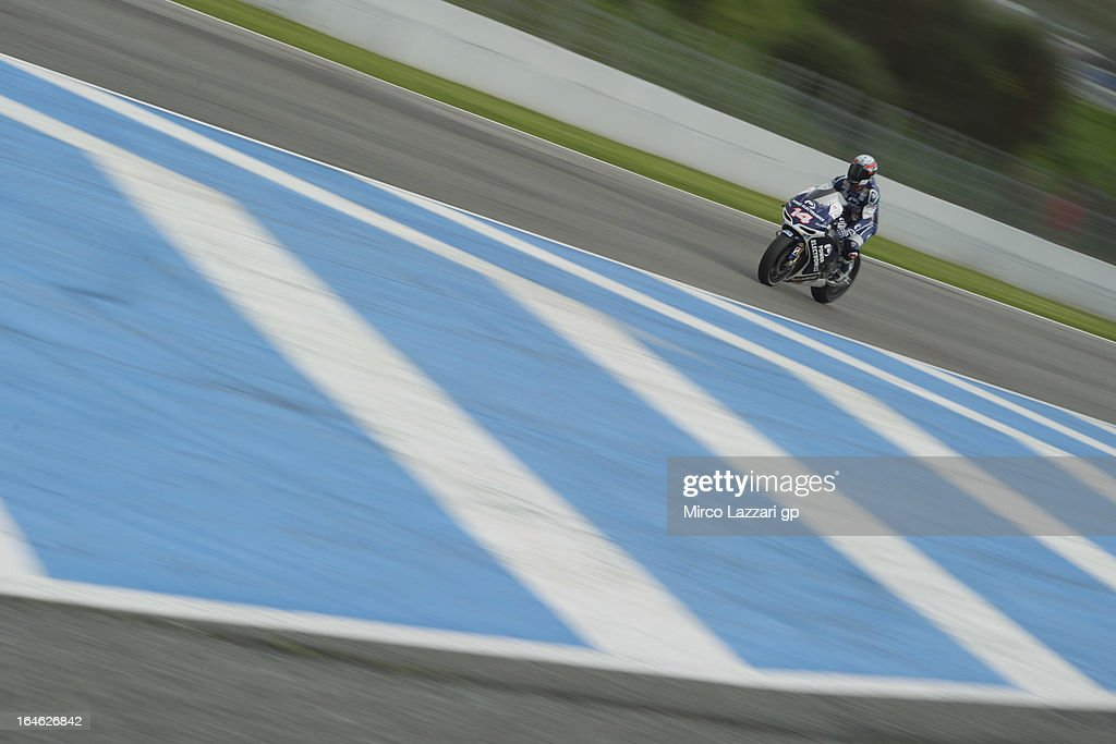 Randy De Puniet of France and Power Electronics Aspar heads down a straight during the MotoGP Tests In Jerez - Day 4 at Circuito de Jerez on March 25, 2013 in Jerez de la Frontera, Spain.