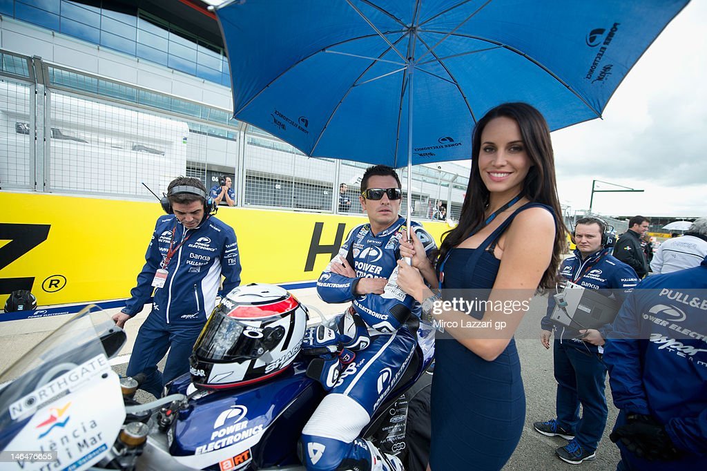 Randy De Puniet of France and Power Electronics Aspar prepares to start on the grid at the MotoGP race at MotoGp of Great Britain at Silverstone...