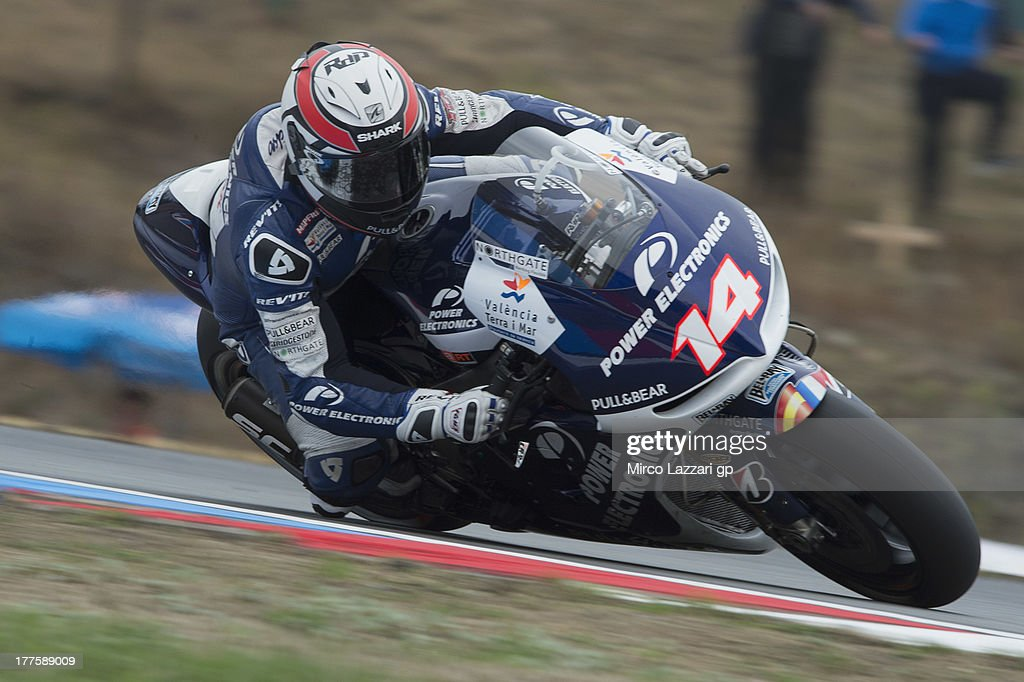 Randy De Puniet of France and Power Electronics Aspar rounds the bend during the MotoGp of Czech Republic Qualifying at Brno Circuit on August 24...