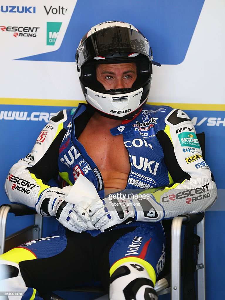 Randy De Puniet of France and rider of the #14 VOLTCOM Crescent Suzuki GSX-R1000 looks on during qualifying for the World Superbikes World Championship Australian Round at Phillip Island Grand Prix Circuit on February 21, 2015 in Phillip Island, Australia.