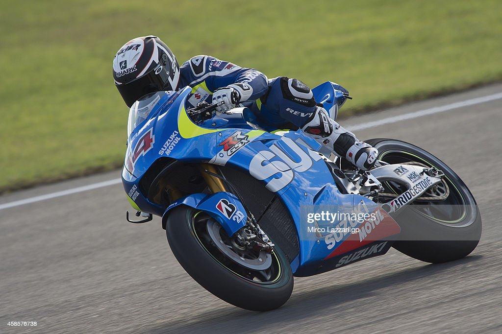 Randy De Puniet of France and Suzuki Test Team heads down a straight during the MotoGP of Valencia Free Practice at Ricardo Tormo Circuit on November...