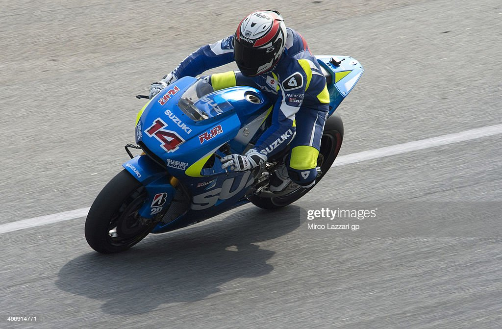 Randy De Puniet of France and Suzuki Test Team heads down a straight during the MotoGP Tests in Sepang Day Two at Sepang Circuit on February 5 2014...