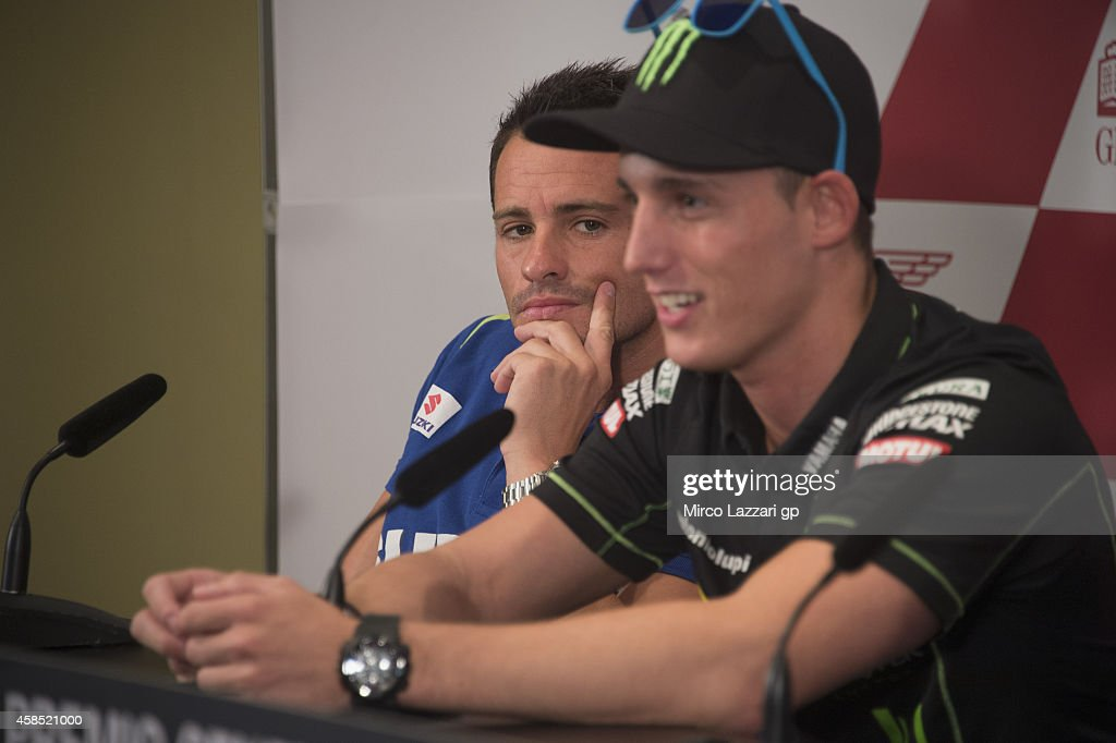 Randy De Puniet of France and Suzuki Test Team looks on during the press conference preevent during the MotoGP of Valencia Previews at Ricardo Tormo...