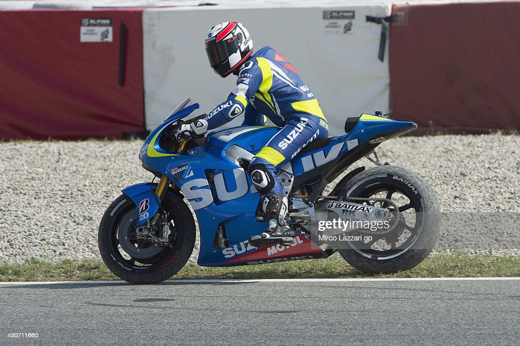 Randy De Puniet of France and Suzuki Test Team rides out of track during the MotoGp Tests In Montmelo at Circuit de Catalunya on June 16 2014 in...