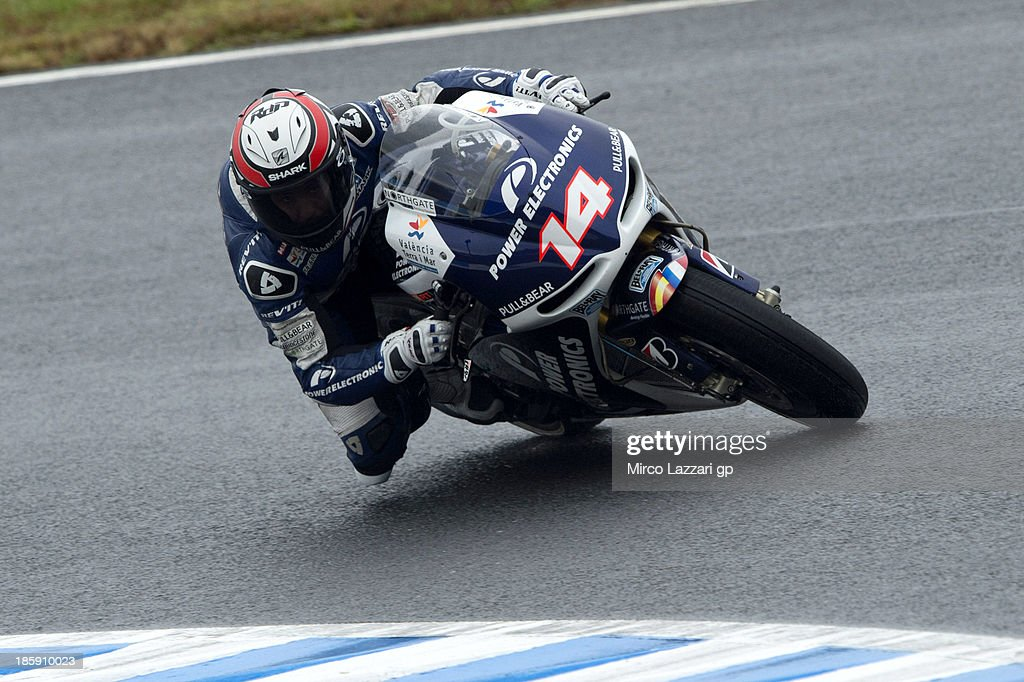 Randy De Puniet of France and Suzuki Test Team rounds the bend during the MotoGP of Japan qualifying session at Twin Ring Motegi on October 26 2013...