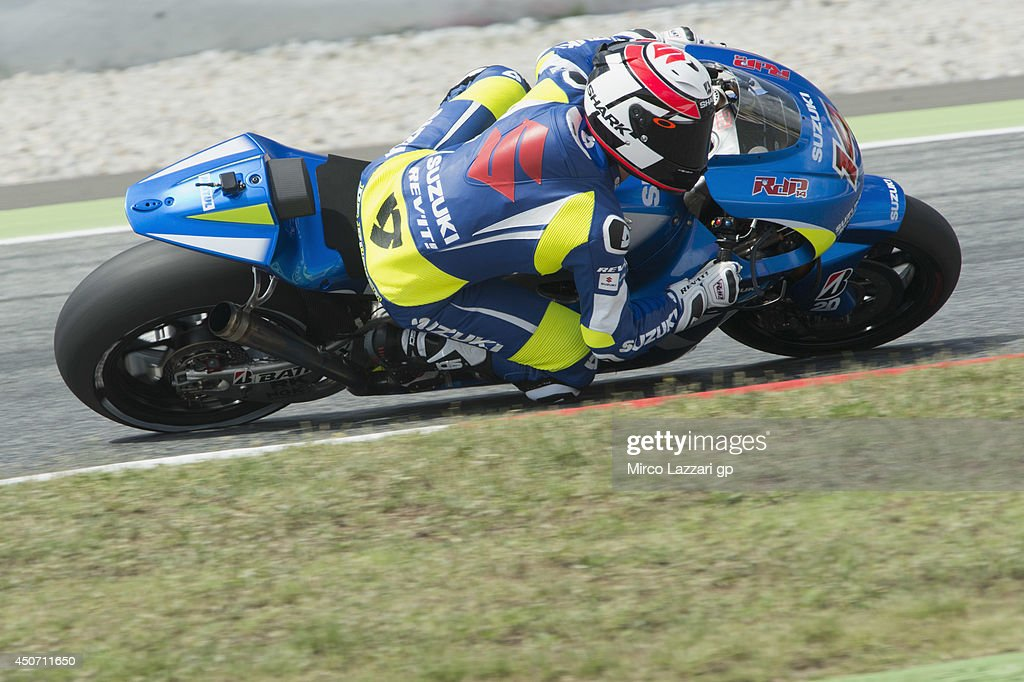 Randy De Puniet of France and Suzuki Test Team rounds the bend during the MotoGp Tests In Montmelo at Circuit de Catalunya on June 16, 2014 in Montmelo, Spain.