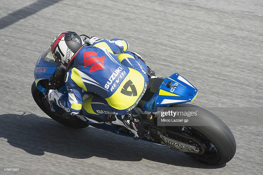 Randy De Puniet of France and Suzuki Test Team rounds the bend during the MotoGP Tests in Sepang Day Three at Sepang Circuit on February 28 2014 in...