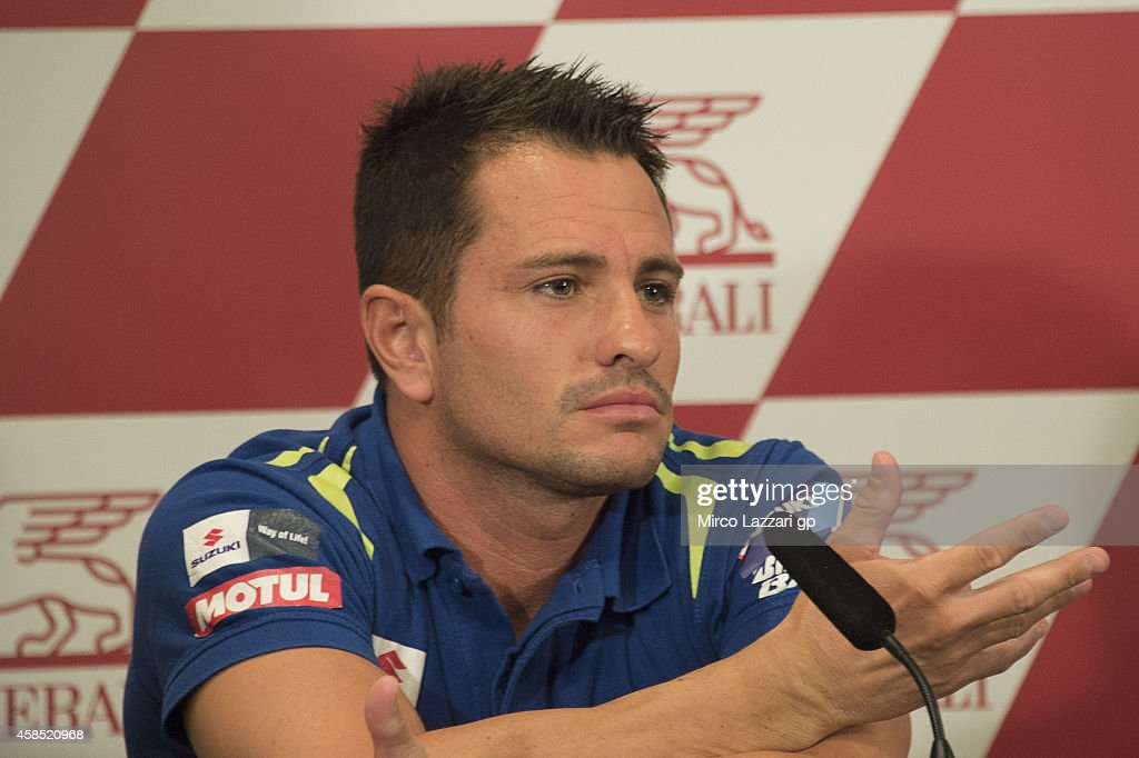 Randy De Puniet of France and Suzuki Test Team speaks during the press conference preevent during the MotoGP of Valencia Previews at Ricardo Tormo...