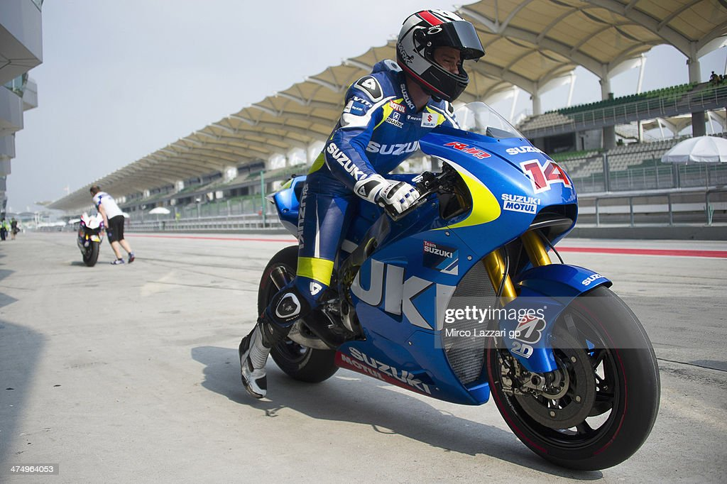 Randy De Puniet of France and Suzuki Test Team starts from box during the MotoGP Tests in Sepang Day One at Sepang Circuit on February 26 2014 in...