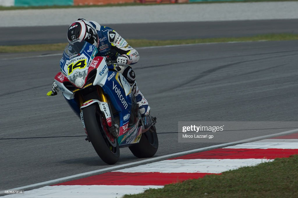 Randy De Puniet of France and Voltcom Crescent Suzuki heads down a straight during the FIM Superbike World Championship Qualifying at Sepang Circuit...